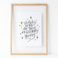Oh Holy Night Christmas Calligraphy Print by PaperHeartByCourtney