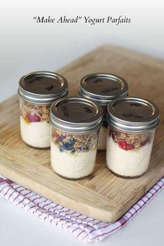 """Recipe: """"Make Ahead"""" Yogurt Parfaits  SavoryPantryBlog.com #parfait #masonjar"""