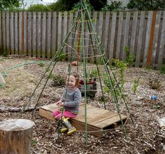 Simple DIY teepee for play and supporting pole beans (via HipChickDigs)
