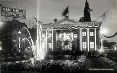 Vismarkt Groningen...versiert ter ere van 40 jaren regentes Koningin Wilhemina 1938