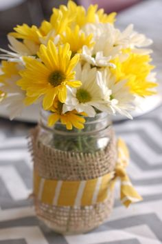 Picture result for Preakness Stakes Decoration Ideas Emma S Bday - Fall decorations - Family Reunion Decorations, Table Decorations, Family Reunion Themes, Mason Jar Crafts, Mason Jars, Daisy Centerpieces, Picnic Table Centerpieces, Sunflower Arrangements, 90th Birthday Parties