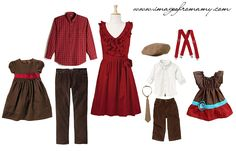 #familylook from Amy: Brown dress with red flower - from Gymboree. Men's red shirt and pants. Little red dressl from eShakti. Little boys outfit & accessories from Gymboree. Little girl's dress - from Etsy