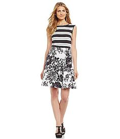 Adrianna Papell MixedPrint FitandFlare Dress #Dillards