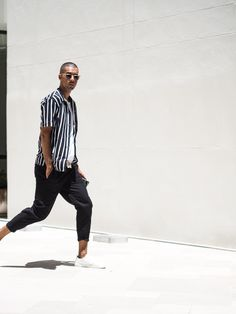 Mens Fashion Style & Outfit inspo by Blogger MR TURNER. Striped ANNEX Shirt from Bondi featuring Sunday Somewhere sunglasses. Menswear. White sneakers.