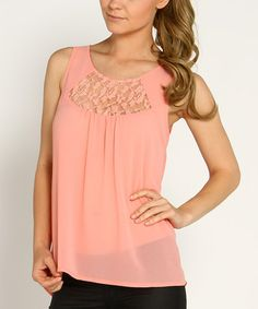 Another great find on #zulily! Pink Lace Cutout Sleeveless Top by Marineblu #zulilyfinds