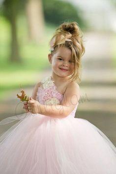 Lovely Light Pink Flower Girl Tutu Style Flower Girl Dress by Gurliglam.