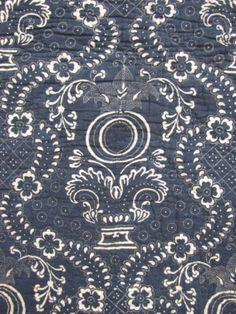 French Quilt Antique Indigo Resist Blue 18th Century Textile Stunning Design   eBay