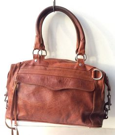 REBECCA MINKOFF Cognac brown MAB large leather SATCHEL tote BAG purse #RebeccaMinkoff #Satchel