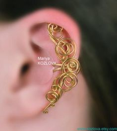 Ear Wrap Victorian Style Gold Magic Fairy Curls  Ear Cuff- gold color tarnish resistant wire - no piercing