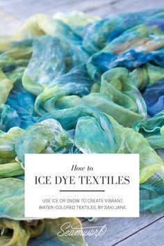 dyeing tutorials How to Ice Dye Textiles Fabric Dyeing Techniques, Tie Dye Techniques, Textiles Techniques, Tye Dye, Ice Tie Dye, Tie Dye Tutorial, Diy Tutorial, Diy Ombre, Textile Dyeing