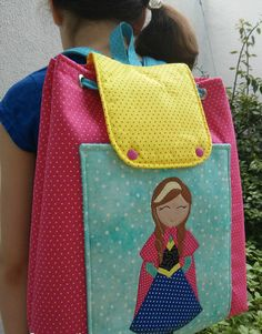Mochila Anna - Frozen * Artesanal - com aplique em tecido
