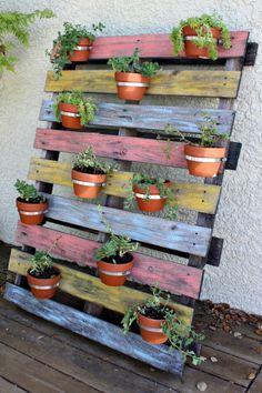 Vertical Terra Cotta Pot Pallet Planter