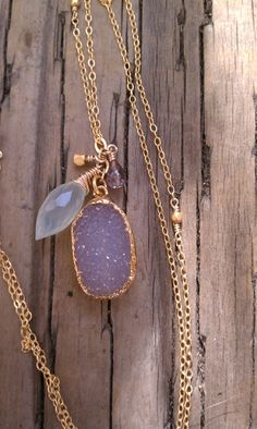 Lavender Druzy Necklace by YellowJacketProject on Etsy, $82.00
