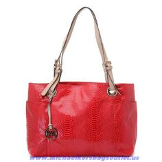 MK 2014 Michael Kors Red Snakeskin Should Bag