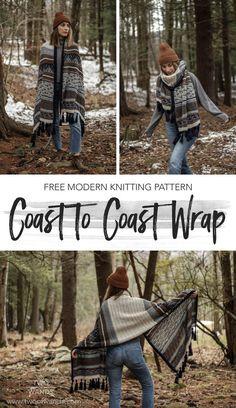 Besten breiwerk : Coast to Coast Wrap - Twee toverstokken Shawl Patterns, Knitting Patterns Free, Free Knitting, Crochet Patterns, Knit Wrap Pattern, Kids Knitting, Knit Cardigan Pattern, Sweater Patterns, Sock Knitting