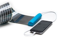 infinityPV's HeLi-on portable battery fits retractable solar panel to charge smartphones