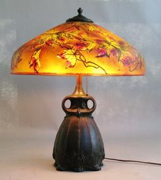 Rare Pittsburgh Autumn Lamp w/ Bronze Owl Base c. 1915  antique reverse painted