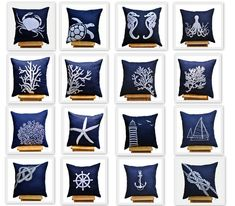Sailing Ship Pillow Cover, Throw Pillow Cover 18 x 18, Navy Blue Linen with White Ship Embroidery, Nautical Pillow, Navy Blue Pillow Accent. 22.00, via Etsy.