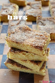 Snickerdoodle Bars ~ soft and chewy treats that are as effortless as spreading batter into a pan and showering with cinnamon and sugar...half the work of the popular cookies with the same yummy flavor and texture! | FiveHeartHome.com
