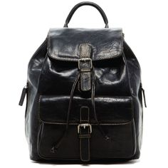 Voyager Black Buffalo Leather Drawstring Backpack