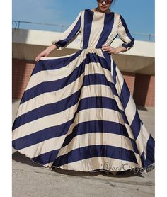 Striped maxi dressNavy and cream striped dress by DressOriginal