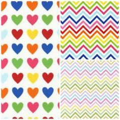 Limited offer  Half metre of each of the three pictured prints -  Chevron Spring  Chevron Bright Hearts Bright Remix