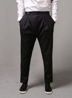 Dark Incense Diagonal Covered Ankle Slacks $57.60 #fashion #style #street #slacks #darkwear #diagonal #black