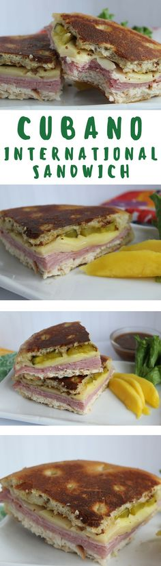 """This hearty Cuban sandwich is full of so much flavor it's like a party in your mouth with every bite. Cuban Sandwich, Sandwich Recipes, Sandwich Ideas, Cuban Recipes, Easy Recipes, Sammy, How To Make Sandwich, Latin Food, Slice Of Bread"