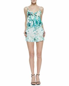Harrison Rain Print Cross-Front Jump Suit, Meadow Green by Parker at Neiman Marcus.