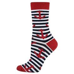 HUE women/'s Nautical Navy//White//Red Anchors Socks One Size