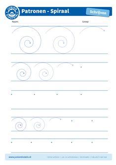 Spiraal [4] - Met dit werkblad oefen je het leren schrijven met schrijfpatronen. Hierdoor oefen je tegelijkertijd de fijne motoriek. Dit is een heel belangrijke voorbereiding op het leren schrijven van letters en cijfers! Dit werkblad biedt het schrijfpatroon van een spiraal aan. Probeer het patroon zo netjes mogelijk binnen de lijntjes te schrijven. Download ook de andere oefenbladen met spiraal en begin met de grote spiralen.