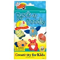 Rock a doodle kit by Creativity for Kids®. Package includes 5 polished rocks, felt accents, paint, paint brush, chenille stems, wiggly eyes, craft glue, fun fur and feathers. Perfect for creating an adorable pet rock!