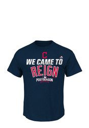 Majestic Cleveland Indians Mens Navy Blue Postseason Partcipant Tee