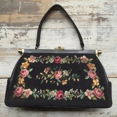 Antique Black Floral Needle Point Purse // Pretty Gal Rose Motif on Etsy, $50.00