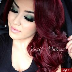 Burgundy hair color I want this color soooooooo bad Dark Red Hair, Hair Color Dark, Hair Colour, Red Velvet Hair Color, Red Color, Brown Hair, Punky Color, Crazy Colour, Pelo Color Vino