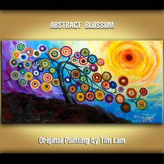 Abstract Painting Fancy Tree Blossom original Art by elsestudio, $318.00