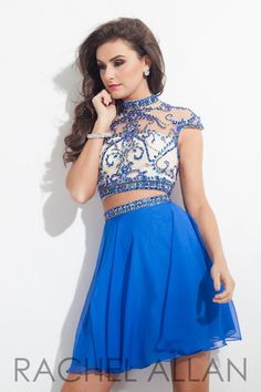 Rachel Allan 4082 Two Piece Homecoming Dress- Short two piece Chiffon homecoming dress features a sheer and rhinestone bodice paired with a flowing chiffon skirt with its beaded belt to show off that waist line.