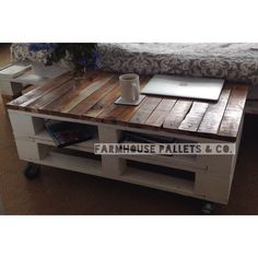 Reclaimed Timber Pallet Coffee Table Solid Wood Upcycled TV Stand Farmhouse Shabby Chic Style Vintage