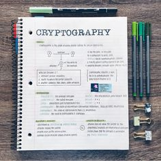 「materials used at end of caption」Started a new course online and it's cryptography! What is something you've always wanted to learn but… crypto crypto Class Notes, School Notes, Pretty Notes, Good Notes, Planning School, Neat Handwriting, College Notes, Bullet Journal Notes, School Study Tips