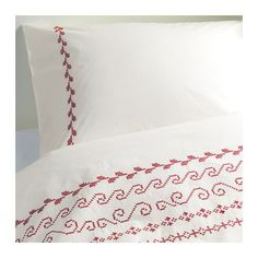 Ikea BIRGIT 3pc Queen Duvet-Cover 100-Percent Cotton White / Red With Decorative Embroider IKEA http://www.amazon.com/dp/B009PO664G/ref=cm_sw_r_pi_dp_x-bmvb0TP4FAB