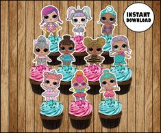 LOL Surprise Dolls cupcakes toppers, printable LOL Dolls party toppers, LOL Surprise Boy cupcakes to Doll Birthday Cake, Funny Birthday Cakes, Barbie Birthday, Barbie Party, Doll Party, 8th Birthday, Princess Cupcake Toppers, Cupcake Toppers Free, Lol Doll Cake