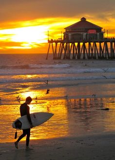 Huntington Beach, CA sunset with Catalina Island in the background on the right.