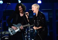Hozier and Annie Lennox perform on the 57th GRAMMY Awards on Feb. 8 in Los Angeles