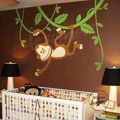 Monkey Wall Decal on Vines, Tree ,Animal, Children Wall Decal Wall Sticker Vinyl Art, Wall Decor- dd1010