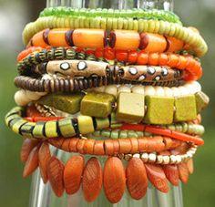 Cuff Bracelet | Bohemian | Orange | Green | Designer | XO Gallery | XO Gallery