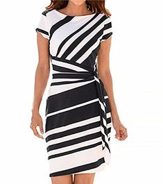 ad94f249a98 LHAYY Womens Pencil Stripe Dresses Party Casual Working Mini Dresses Robes  Vintage