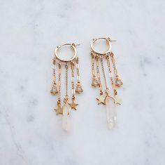 All The Dangles Hoop Earrings star earrings shooting star earrings crystal earrings hoops gold hoops gypset gypset jewelry Star Earrings, Crystal Earrings, Crystal Jewelry, Gold Earrings, Drop Earrings, Leaf Jewelry, Cartilage Earrings, Bridal Earrings, Beaded Earrings