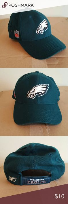 NFL Philadelphia Eagles Reebok Ball Cap Hat Philadelphia Eagles NFL Reebok adjustable hat. The hat is green with the Eagles emblem on the front and the NFL logo on the side. The adjustable velcro has the Philadelphia Eagles name on it. Very lightly worn, washed, and ready for a new home. Smoke free home and fast shipping. I do offer bundle deals as well. Thank you for checking out my closet. Reebok Accessories Hats