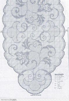 View album on Yandex. Crochet Table Runner Pattern, Crochet Edging Patterns, Crochet Blocks, Crochet Designs, Filet Crochet Charts, Fillet Crochet, Crochet Home, Vintage Crochet, Crochet Doilies