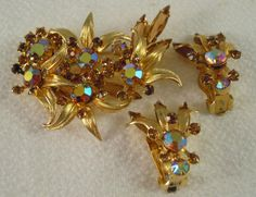 Juliana Floral Brooch Earrings Topaz Rhinestone Aurora Borealis Delizza and Elster #hepteamgvsteam #vogeteam